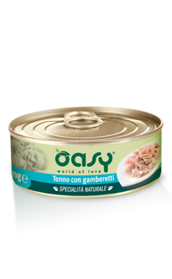 Oasy - Specialità Naturale Umido Cat Tonno con Gamberetti. 150gr