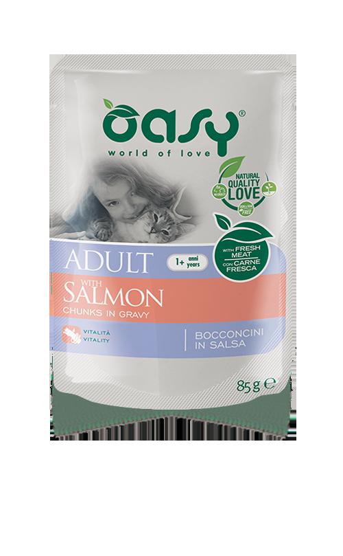 Oasy Wet Cat Bocconcini - ADULT SALMON Busta 85 gr (12pz)