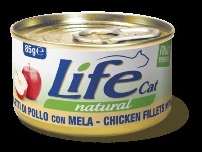 Life Cat - Umido Pollo Mela in brodo di cottura. 85gr