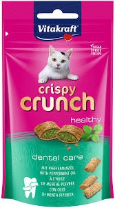Vitakraft - Cat Crispy Crunch dental con olio di menta piperita 60 gr