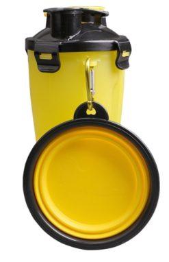 Borraccia 2 in 1 per acqua e cibo cani e gatti con Ciotola. Colore giallo