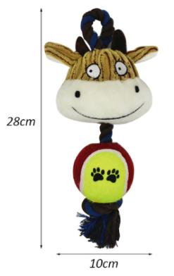 Gioco 3 in 1 con pupazzo, cordino e pallina. 28x10 cm