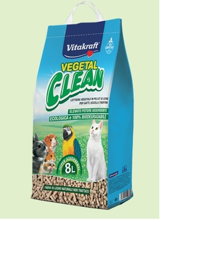 Vitakraft - Lettiera Biodegradabile Vegetal Clean. Gatti e piccoli animali. 8l