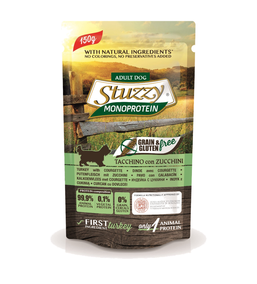 Stuzzy - Busta Cane Monoproteico con Tacchino e Zucchine. 150gr
