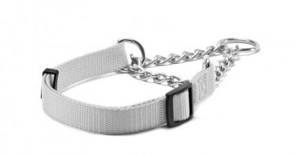 Record – Collare Nylon Semi Strozzo grigio. 1,6cm