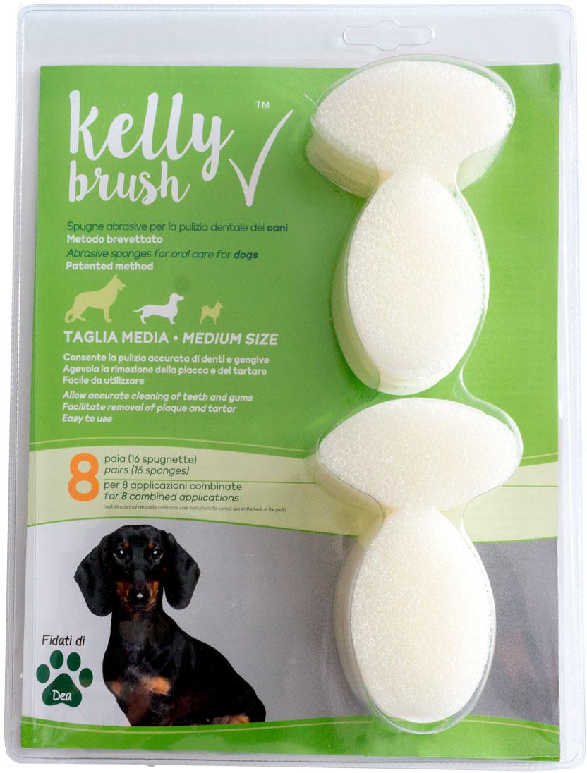 Kelly Brush - spugne abrasive per la pulizia dentale dei cani. 8 paia taglia media