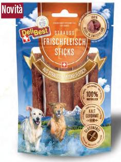 Delibest - Dog snack bastoncini di Carne fresca di Struzzo. 85gr